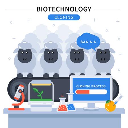 clonacion: Biotecnolog�a bandera de color con el experimento de clonaci�n de la ciencia instrumentos de ovejas y de laboratorio en la ilustraci�n tabla de vectores Vectores
