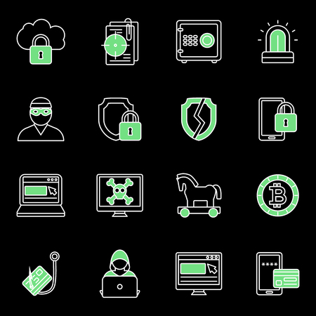 stealing data: Green isolated internet security icon set with viruses types and stealing of information and data vector illustration