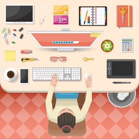 tiled floor: Workplace top view design with working woman white table computer gadgets organizer coffee tiled floor vector illustration