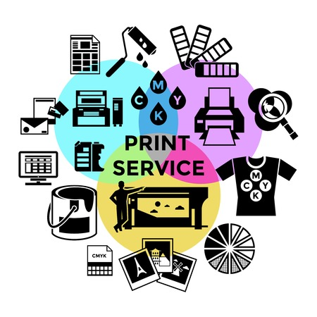 Cmyk print service composition with different black isolated icon set three colored circles at the center vector illustration Vetores