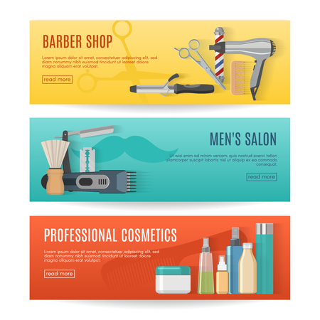 beauty shop: Beauty studio horizontal banners set with barber shop mens salon professional cosmetics isolated vector illustration