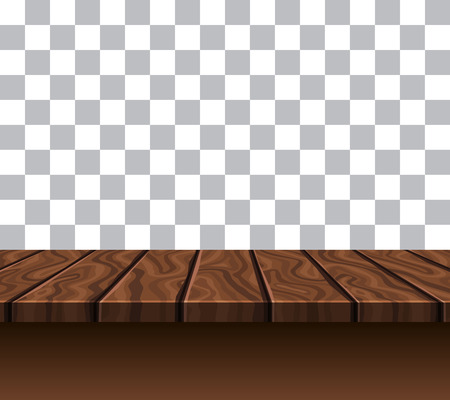 tabletop: Empty wooden tabletop of brown color near grey white wall with checkerboard pattern vector illustration