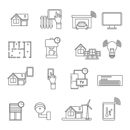 usual: Smart house in linear style icon set about innovative technologies in our usual life vector illustration