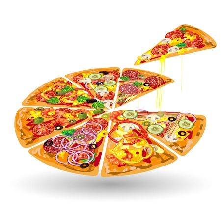 one piece: Pizza color composition pizza sliced on portions and one piece separated vector illustration Illustration