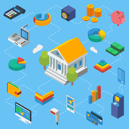 cash register building: ATM isometric infographics with bank building in center financial objects diagrams around on blue background vector illustration