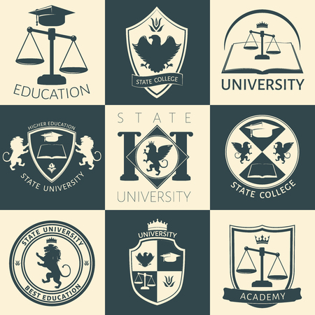 higher quality: University heraldry vintage stickers with eagle lion flower crown book scales academic cap isolated vector illustration Illustration