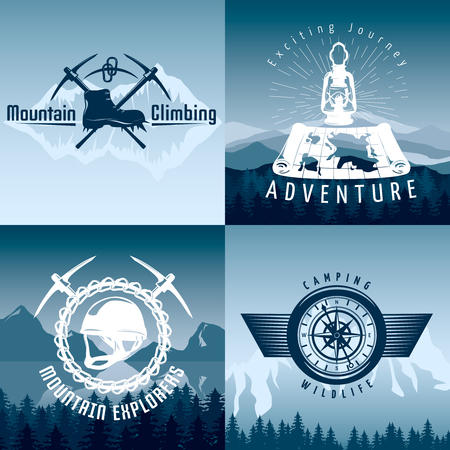crampon: Mountain adventures compositions in blue white colors with climbing equipment on natural landscape background isolated vector illustration