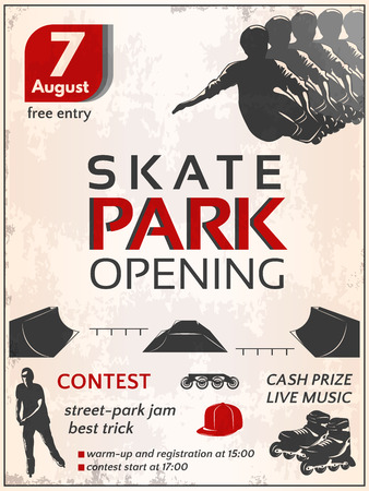 skate park: Skate park opening poster with teenagers roller boots wheels sportive equipment on dirty white background vector illustration