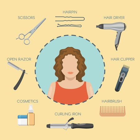 hairdressing salon: Hairdressing salon decorative icons with woman on blue circle cosmetics working tools around isolated vector illustration