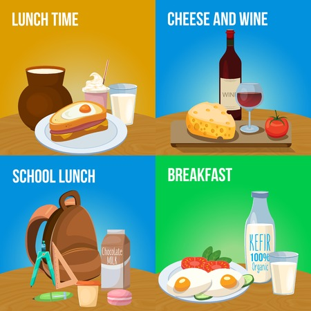 Milk food banner set with descriptions of lunch time cheese and wine school lunch and breakfast vector illustration Illustration