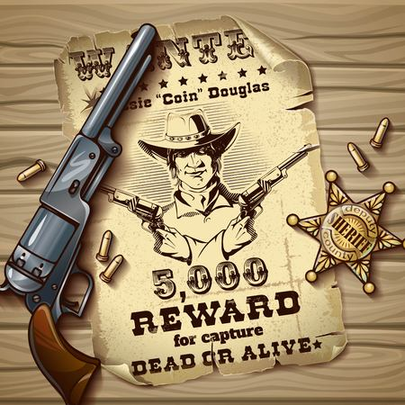 Sheriff stars vintage design with poster of wanted police badge cartridges gun on wooden background vector illustration