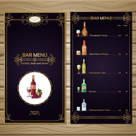 Bar menu template of black color with golden embellishments alcoholic drinks on wooden background vector illustration