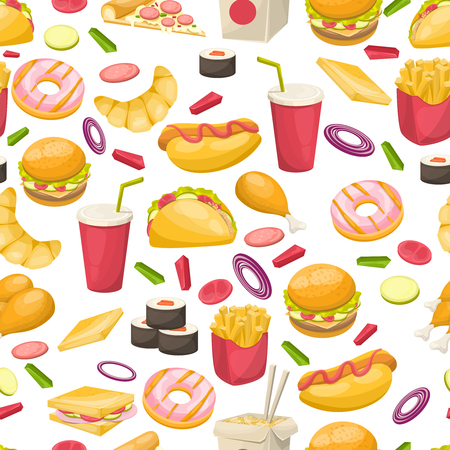 Fast food seamless pattern with sushi sandwich vegetables fried potato burger donut on white background vector illustration