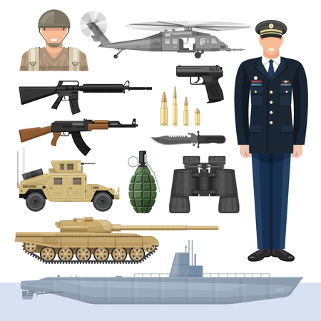 Flat army icon set with types of weapons and forms of military means of transportation vector illustration Archivio Fotografico - 128174047