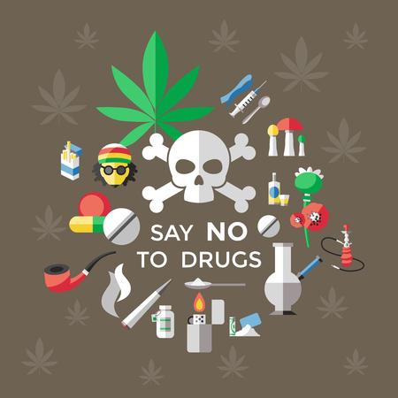 """Poster piatto di droghe con titolo """"no droghe"""" e su sfondo marrone con illustrazione vettoriale foglia di marijuana"""