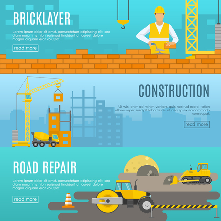 Three horizontal construction banner set with descriptions of bricklayer construction and road repair vector illustration
