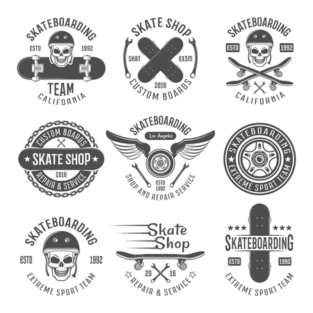 Skateboarding black emblems with descriptions of skateboarding team California skate shop custom boards and different vector illustration