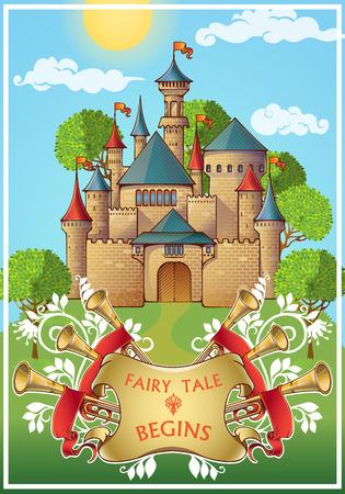 Cuento de hadas sobre el cartel caballero con el castillo medieval en torno a los árboles verdes en el cielo azul de fondo ilustración vectorial
