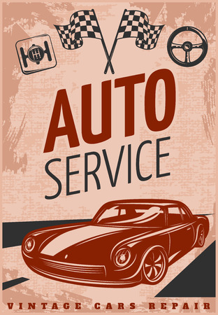 tire cover: Car repair grunge retro poster with collectible car on the road in brown gray color vector illustration Illustration