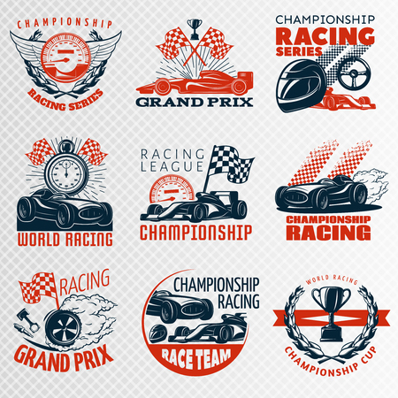 nitro: Racing emblem set in color different shapes with descriptions championship racing racing league grand prix vector illustration Illustration