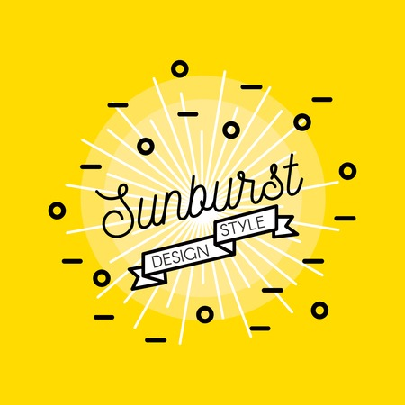 aureola: Sunburst flat design with bright star black inscription and decorative elements on yellow background vector illustration