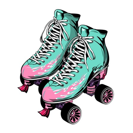 laced: Quad roller skates with laced boots of blue pink color on white background isolated vector illustration