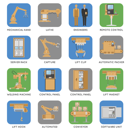 automated: Colored and isolated automated assembly square icon set with descriptions of capture engineers automated conveyor server rack and ext vector illustration