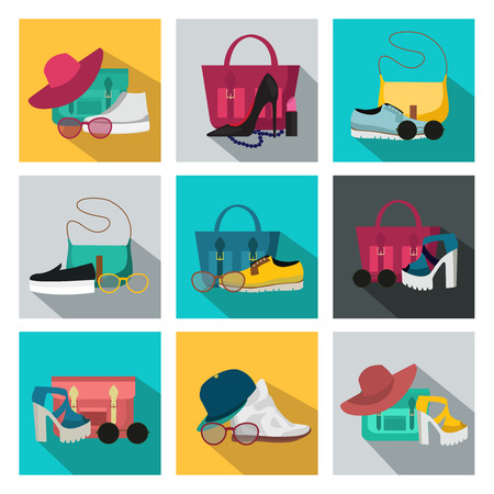 occasions: Square isolated colored fashion accessories icon set with womens beauty accessories different styles for all occasions vector illustration