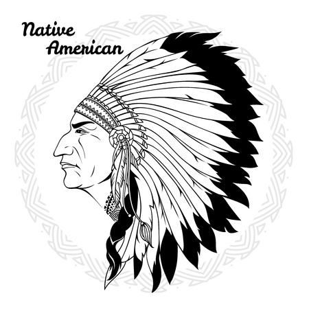 valiant: Native american in profile monochrome with headdress of feathers and traditional pattern around vector illustration