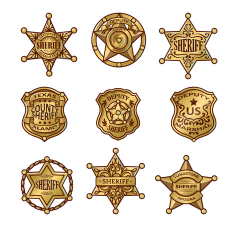 deputy sheriff: Golgen sheriff badges with stars and shields ribbons flourishes laurel on white background isolated vector illustration