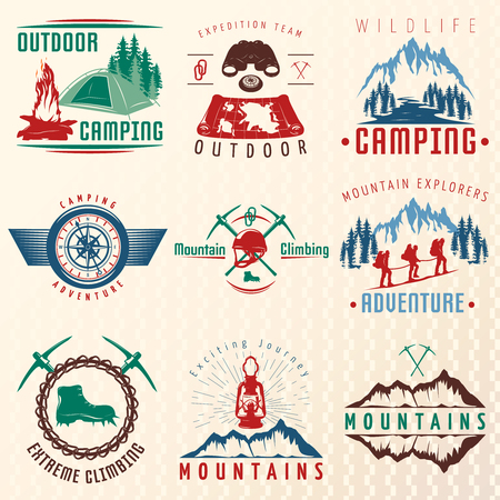 ice axe: Mountain expeditions colorful emblems with rocks boots ice axe lantern map binoculars climbing team isolated vector illustration