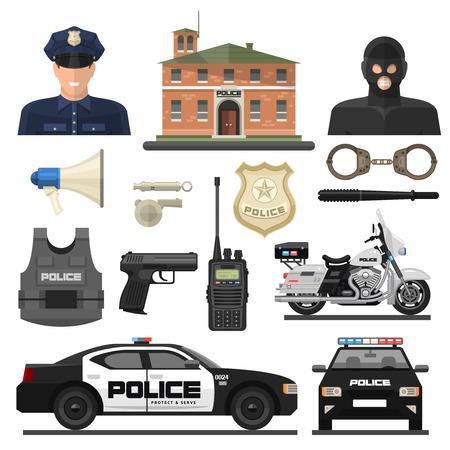 aisladas y de color policial conjunto de iconos plana con agentes de la ley y sus medios de transporte vector ilustración Ilustración de vector