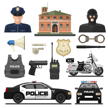 enforcement: Flat isolated and colored police icon set with law enforcement officers and their means of transportation vector illustration Illustration