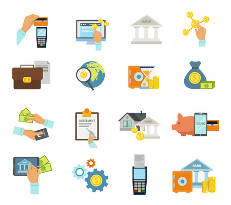purchases: Banking service icon flat set with banking accessories and equipment required to make transfers and purchases vector illustration Illustration