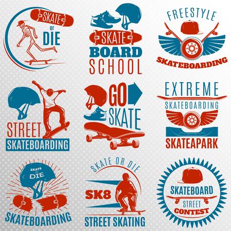 skate board: Skateboarding emblem set in color with descriptions of skate or die freestyle skate board school vector illustration Illustration