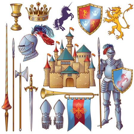 iconos decorativos Knight establecidos con el castillo medieval cubilete de oro armadura de corona filo ilustración vectorial aislados escudo de armas
