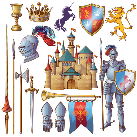 edged: Knight decorative icons set with medieval castle golden goblet armour crown edged weapon shield isolated vector illustration