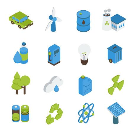 reciclable: Ecolog�a iconos isom�tricos establecen con combustible bio coche el�ctrico bosques de energ�a verde aislado signo ilustraci�n vectorial reciclables