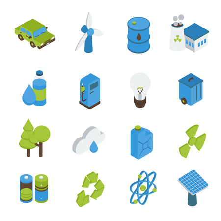 bio fuel: Ecology isometric icons set with electric car bio fuel green energy forests recyclable sign isolated vector illustration