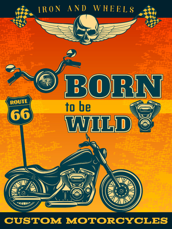 tagline: Colored motorcycle poster movement means on road with title or tagline born to be wild vector illustration