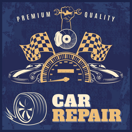 tire cover: Car repair blue retro poster or flyer with headlines premium quality and car repair vector illustration Illustration