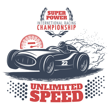 nitro: Racing colored print with description of super power international racing championship unlimited speed vector illustration Illustration