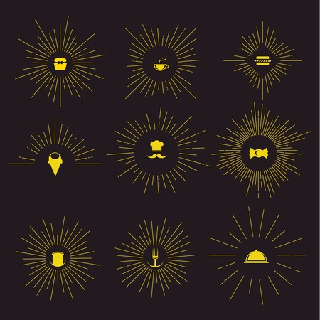 Sunburst vintage design set with restaurant icons in center of star  on black background isolated vector illustration