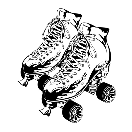 Pair of monochrome quad roller skates with print fire on boots on white background isolated vector illustration Illustration