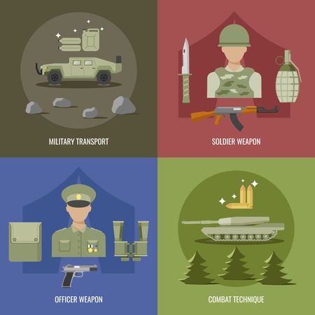 combat: Army flat design with military transport weapon of officer and soldier combat technique isolated vector illustration