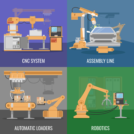 automated: Four square automated assembly icon set with descriptions of cnc system assembly line automatic loaders and robotics vector illustration