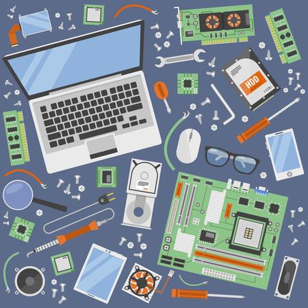 Usługa komputerowa ikona ustawiająca z narzędziami dla naprawy komputerowego wyposażenia odgórnego widoku wektoru ilustracja Ilustracje wektorowe
