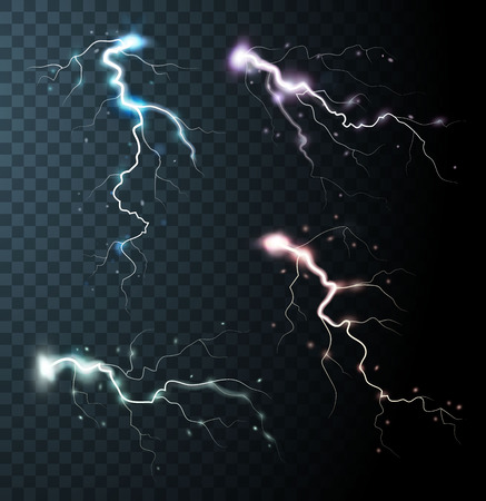the dazzle: Thunderstorm realistic elements with colored flashes of lightnings  sparks on black half transparent background isolated vector illustration