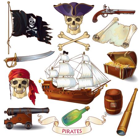 cocked hat: Pirates cartoon icons set with jolly roger chest of treasure sailboat letter in bottle isolated vector illustration Illustration
