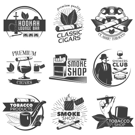lounge bar: Smoking tobacco label set with descriptions of hookah lounge bar classic cigars classic tobacco smoke shop vector illustration Illustration